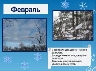 В феврале два друга – мороз да вьюга. Бури да метели под февраль налетели. Фе