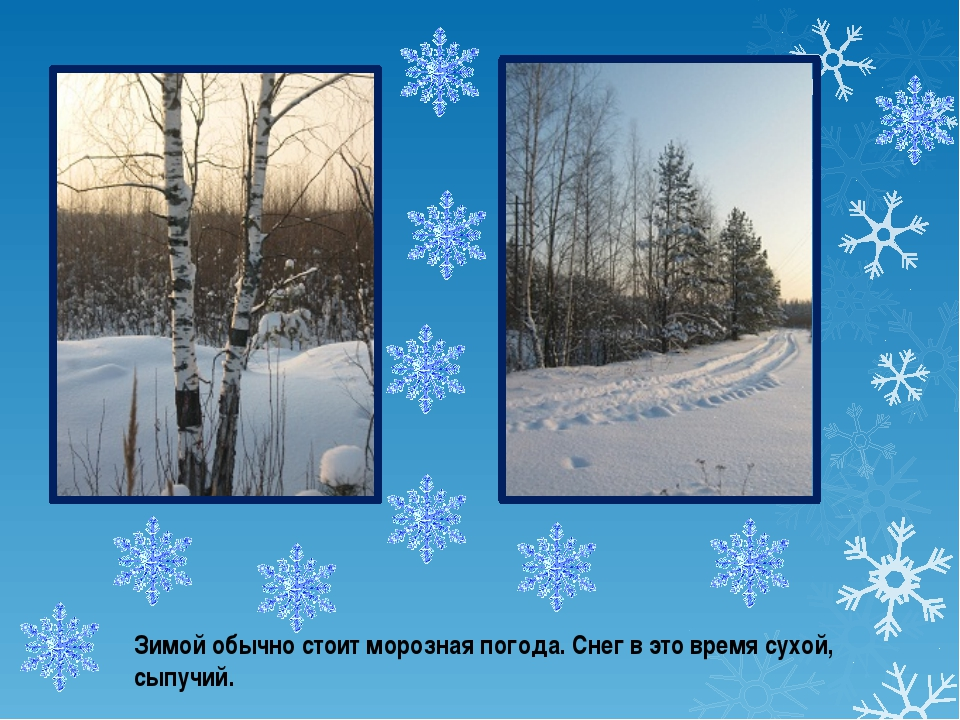 Зимой обычно стоит морозная погода. Снег в это время сухой, сыпучий.