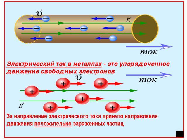 Электрический ток в металлах - это упорядоченное движение свободных электрон...