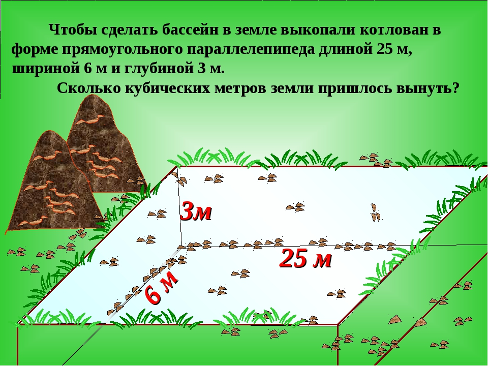 3м 25 м 6 м Чтобы сделать бассейн в земле выкопали котлован в форме прямоугол...