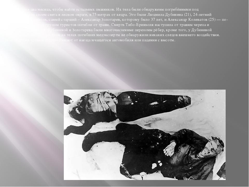 Потребовалось два месяца, чтобы найти остальных лыжников. Их тела были обнару...