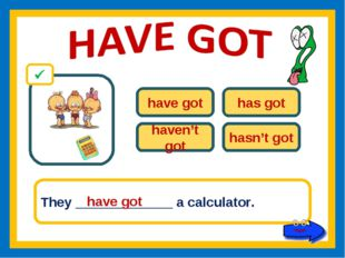 have got has got haven't got hasn't got They _____________ a calculator. have