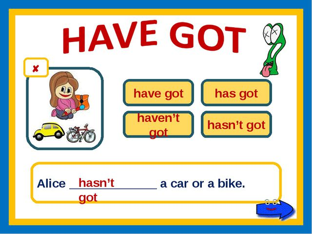have got has got haven't got hasn't got Alice _____________ a car or a bike....