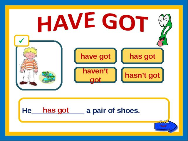 have got has got haven't got hasn't got He_____________ a pair of shoes. has...