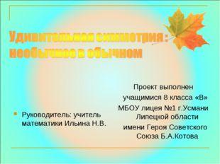 Руководитель: учитель математики Ильина Н.В. Проект выполнен учащимися 8 кла