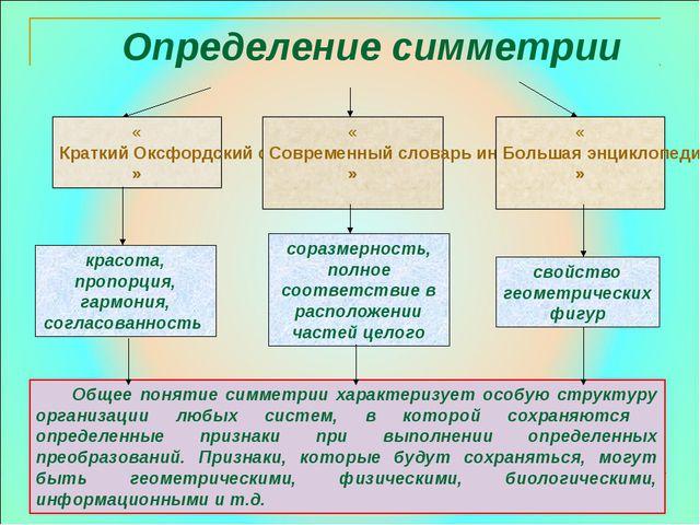 Определение симметрии Общее понятие симметрии характеризует особую структуру...