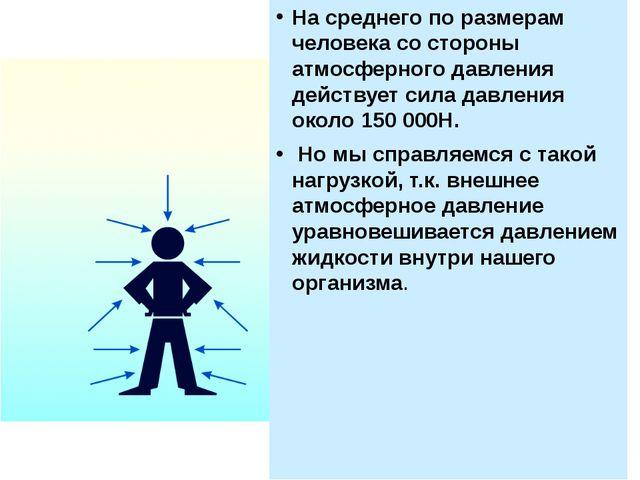 На среднего по размерам человека со стороны атмосферного давления действует с...