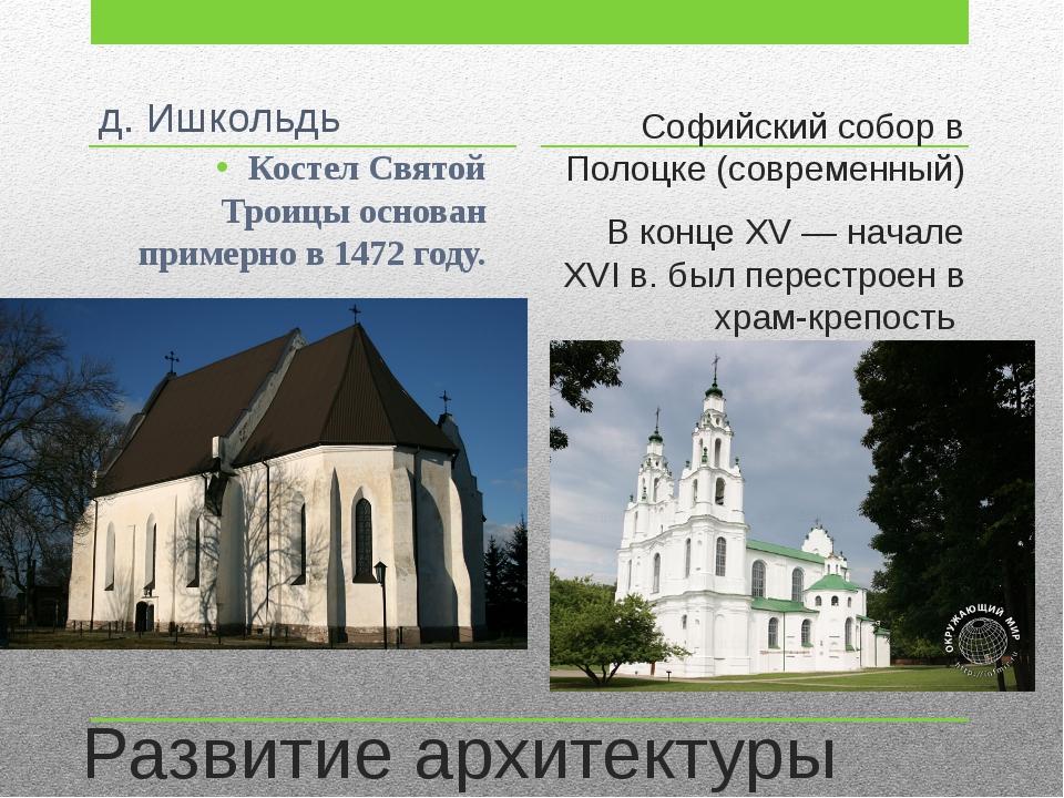 Развитие архитектуры Софийский собор в Полоцке (современный) В конце XV — нач...
