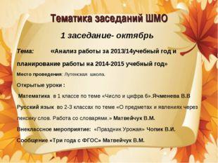 Тематика заседаний ШМО 1 заседание- октябрь Тема: «Анализ работы за 2013/14уч