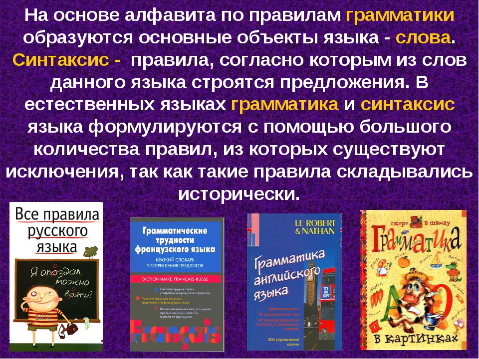 На основе алфавита по правилам грамматики образуются основные объекты языка -...