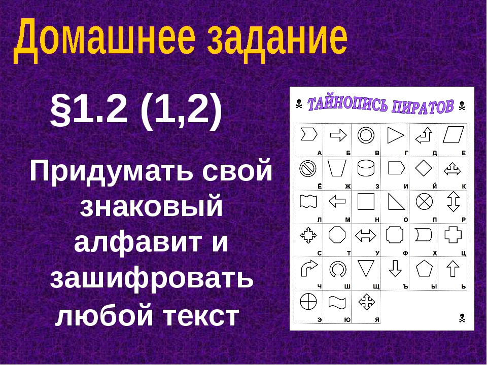 §1.2 (1,2) Придумать свой знаковый алфавит и зашифровать любой текст