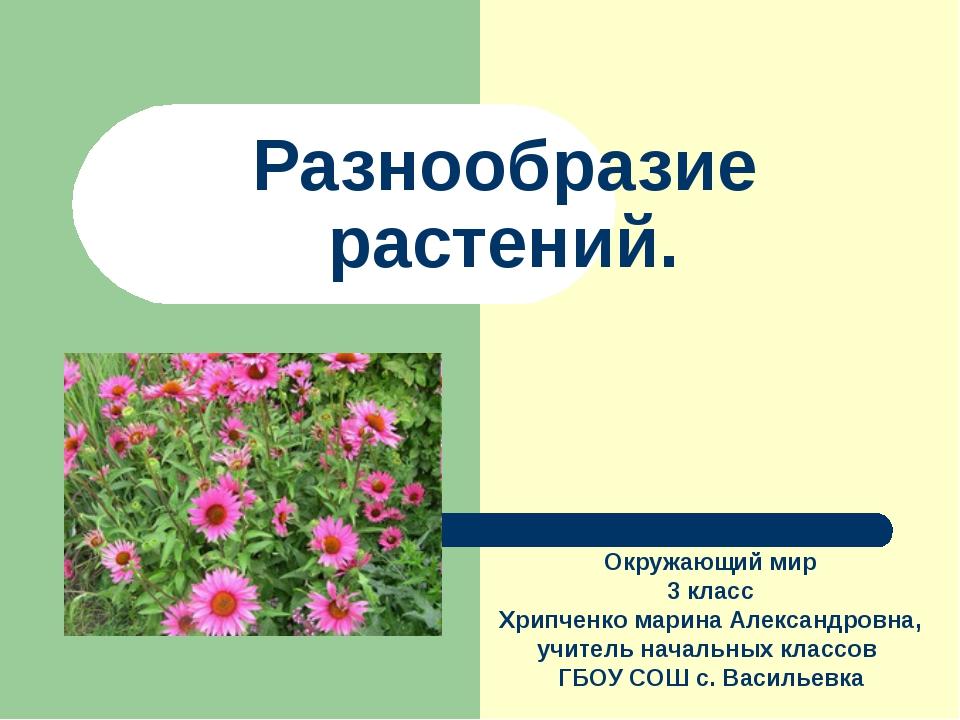 Разнообразие растений. Окружающий мир 3 класс Хрипченко марина Александровна,...