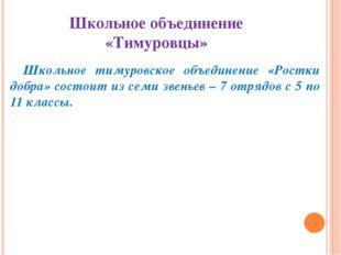 Школьное объединение «Тимуровцы» Школьное тимуровское объединение «Ростки доб