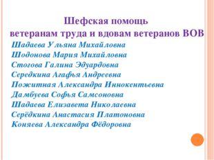 Шефская помощь ветеранам труда и вдовам ветеранов ВОВ Шадаева Ульяна Михайлов