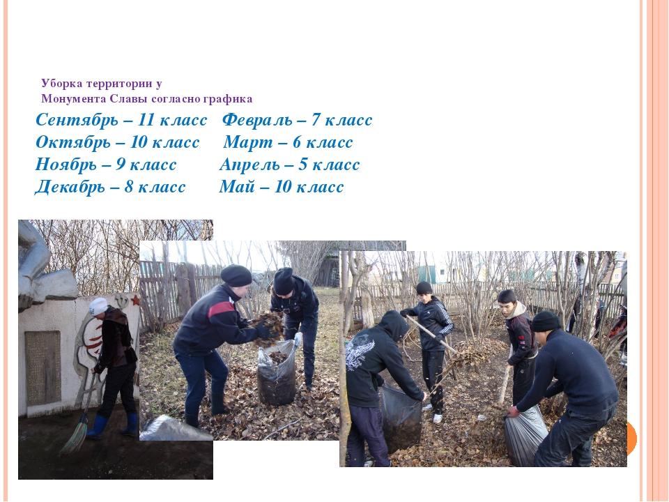 Уборка территории у Монумента Славы согласно графика Сентябрь – 11 класс Фев...
