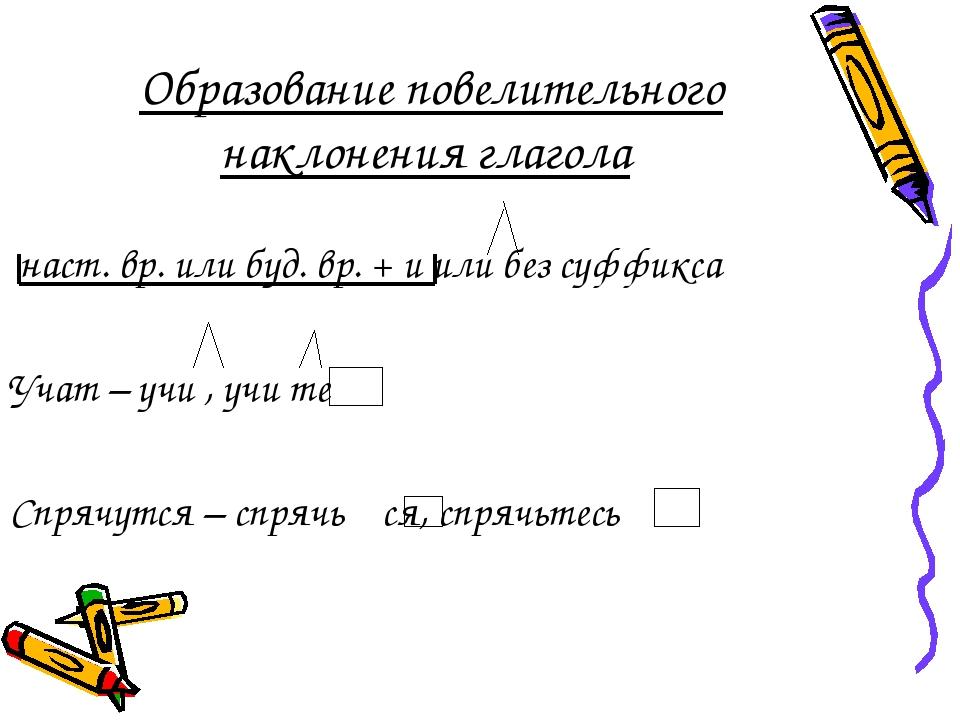 Образование повелительного наклонения глагола наст. вр. или буд. вр. + и или...