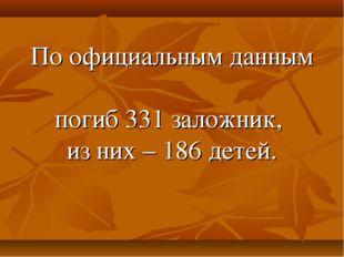 По официальным данным погиб 331 заложник, из них – 186 детей.