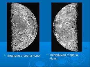 Видимая сторона Луны Невидимая сторона Луны