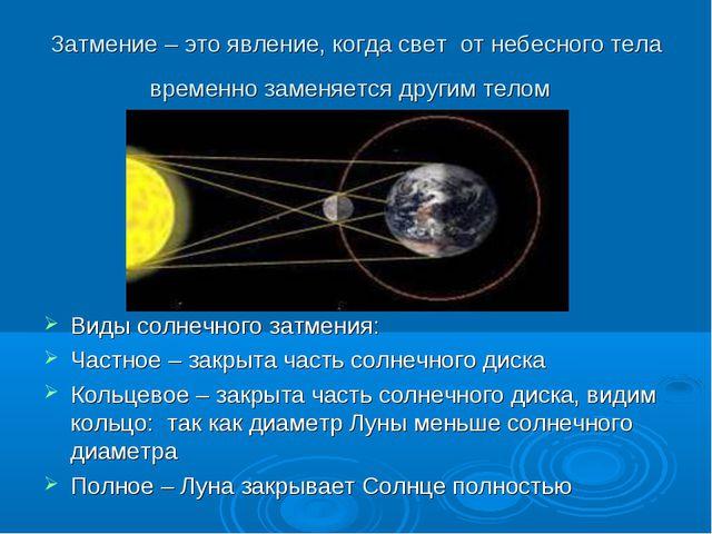 Затмение – это явление, когда свет от небесного тела временно заменяется друг...