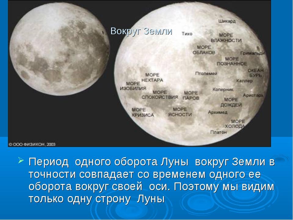 Вокруг Земли Период одного оборота Луны вокруг Земли в точности совпадает со...
