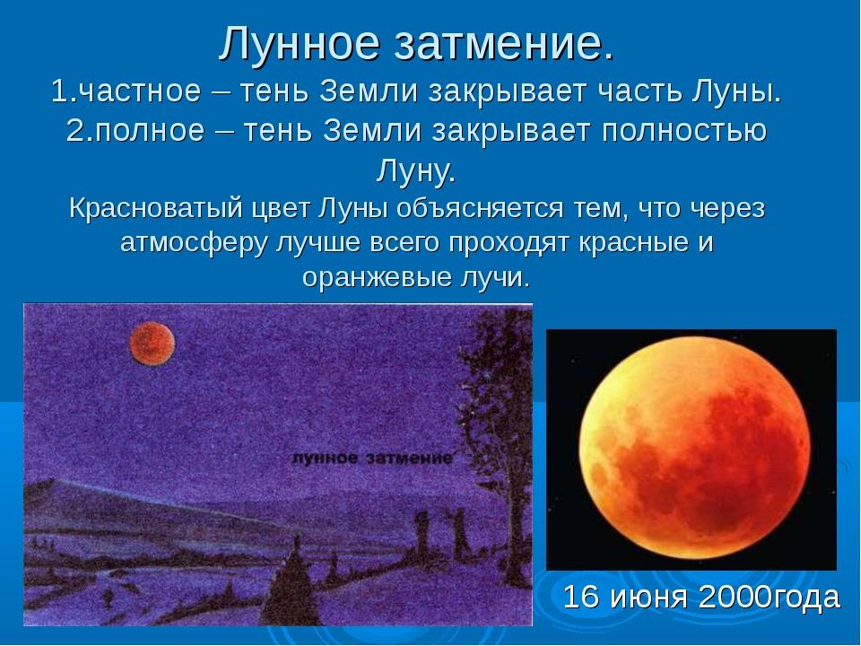 Лунное затмение. 1.частное – тень Земли закрывает часть Луны. 2.полное – тень...