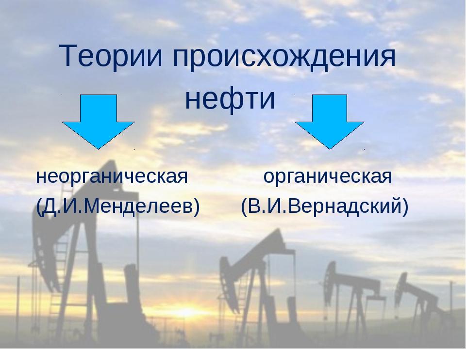 Теории происхождения нефти неорганическая органическая (Д.И.Менделеев) (В.И....