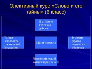 Элективный курс «Слово и его тайны» (6 класс)