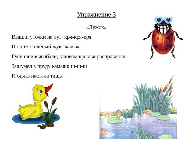 Упражнение 3 «Лужок» Вышли уточки на луг: кря-кря-кря Полетел зелёный жук: ж-...
