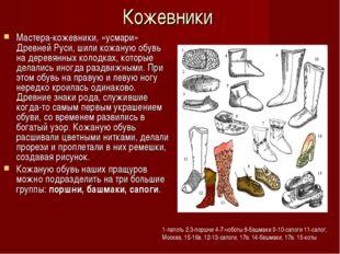 Кожевники Мастера-кожевники, «усмари» Древней Руси, шили кожаную обувь на дер