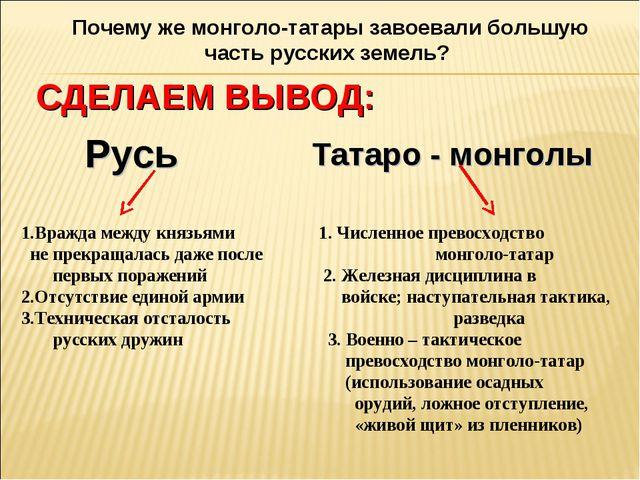 Почему же монголо-татары завоевали большую часть русских земель? СДЕЛАЕМ ВЫВО...