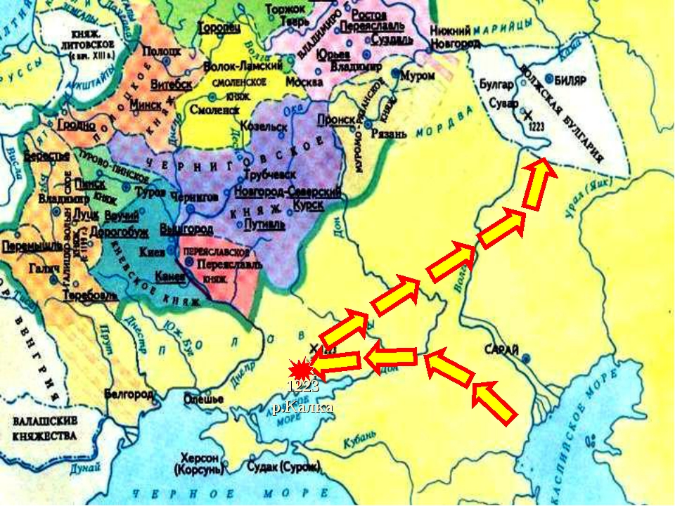 * Здесь они разгромили Волжских Булгар.В 1227 г. Чингисхан умер и началась бо...
