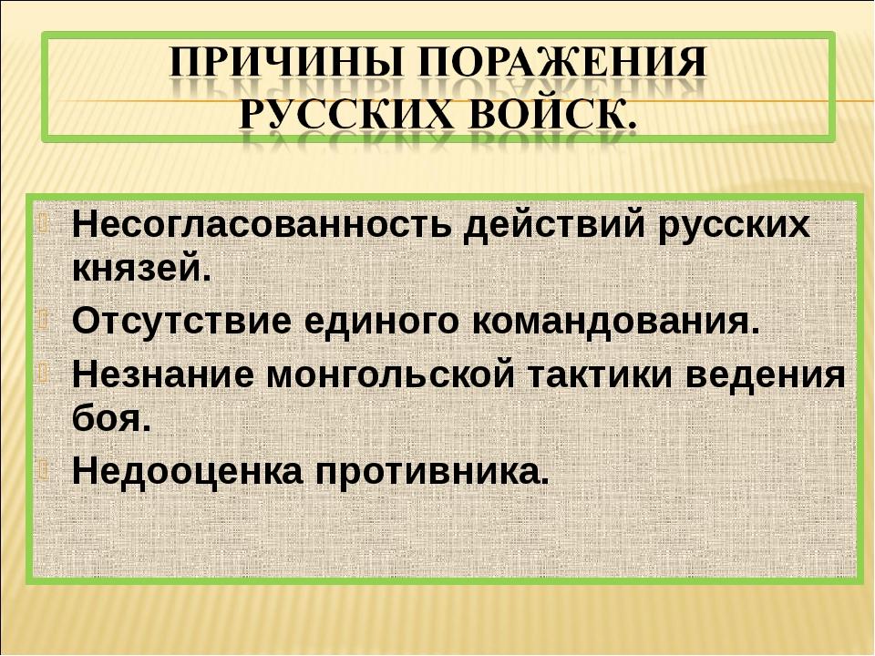 Несогласованность действий русских князей. Отсутствие единого командования. Н...