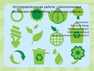Исследовательская работа: «Экологическая экспертиза микрорайона Ленинского ра