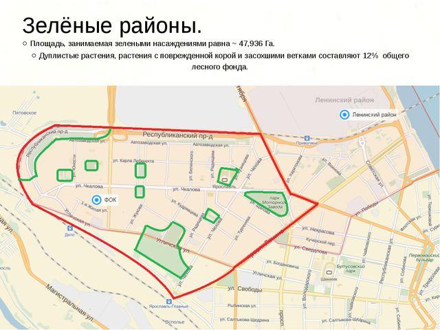 Зелёные районы. ○ Площадь, занимаемая зелеными насаждениями равна ~ 47,936 Га...