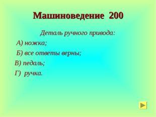 Машиноведение 200 Деталь ручного привода: А) ножка; Б) все ответы верны; В) п