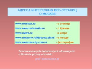 АДРЕСА ИНТЕРЕСНЫХ ВЕБ-СТРАНИЦ О МОСКВЕ www.moskwa.ru - о столице www.moscowkr