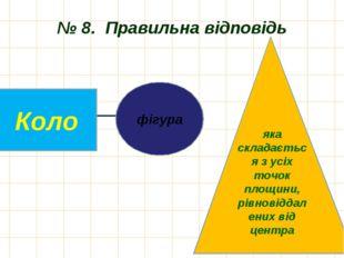 № 8. Правильна відповідь фігура Коло яка складається з усіх точок площини, рі