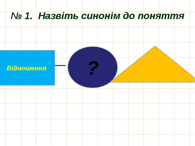 № 1. Назвіть синонім до поняття ? Відношення