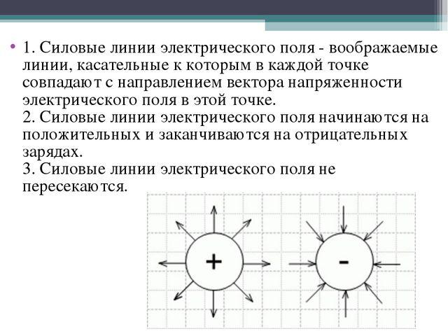 1. Силовые линии электрического поля - воображаемые линии, касательные к кото...
