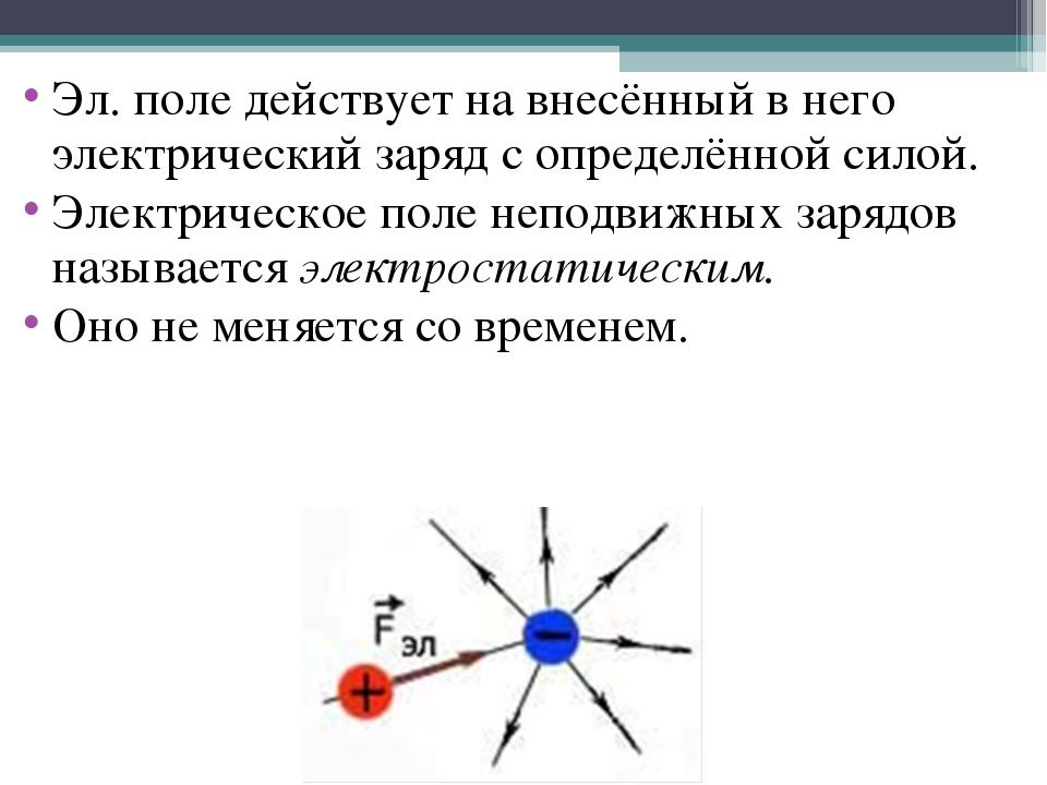 Эл. поле действует на внесённый в него электрический заряд с определённой сил...