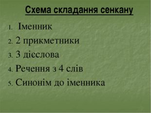 Схема складання сенкану Іменник 2 прикметники 3 дієслова Речення з 4 слів Син