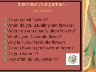 Interview your partner. S=S (Pair work) Do you plant flowers? When do you usu