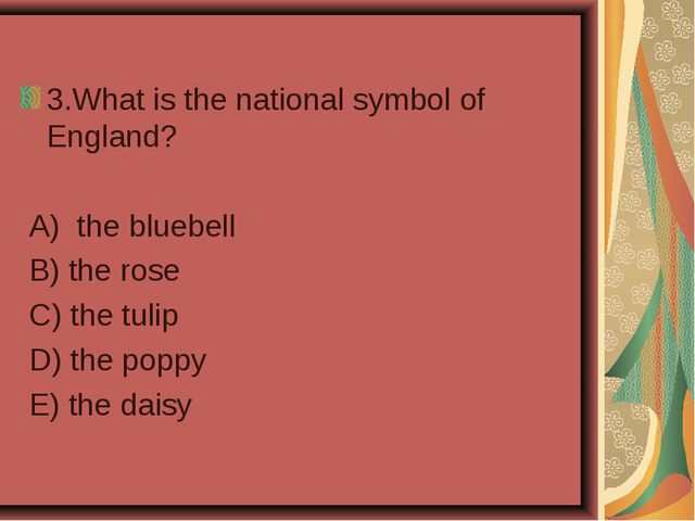 3.What is the national symbol of England? A) the bluebell B) the rose C) the...
