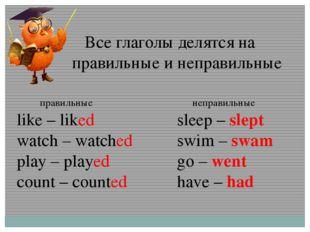 Все глаголы делятся на правильные и неправильные правильные like – liked wat