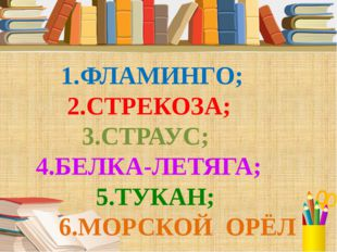 1.ФЛАМИНГО; 2.СТРЕКОЗА; 3.СТРАУС; 4.БЕЛКА-ЛЕТЯГА; 5.ТУКАН; 6.МОРСКОЙ ОРЁЛ