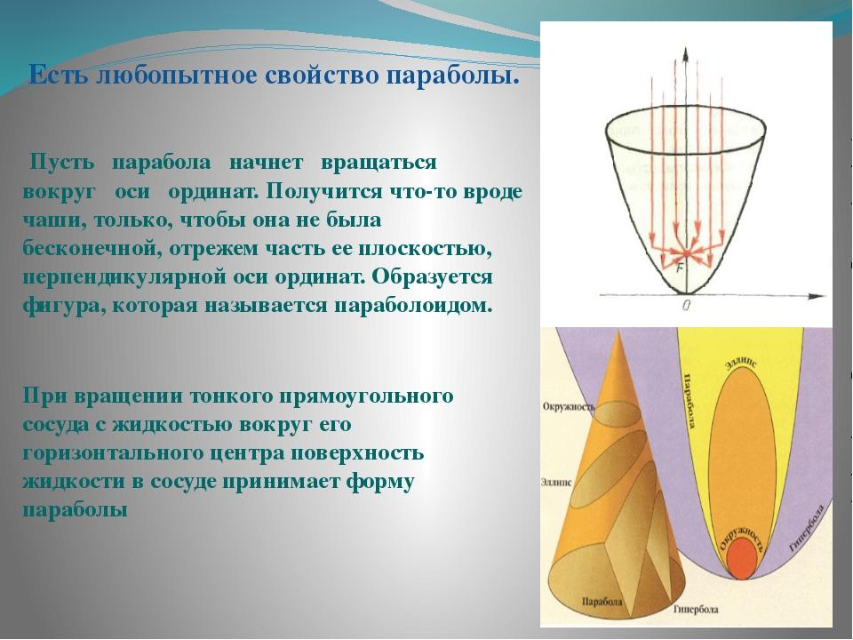 Есть любопытное свойство параболы. Пусть парабола начнет вращаться вокруг ос...