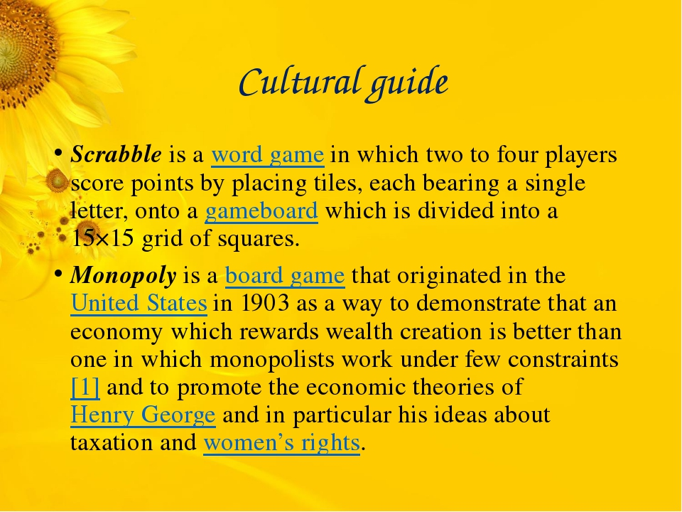 Cultural guide Scrabble is a word game in which two to four players score poi...