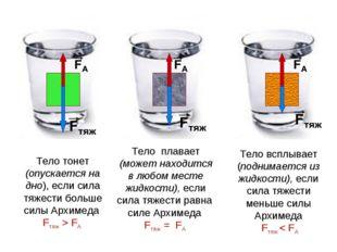 Тело тонет (опускается на дно), если сила тяжести больше силы Архимеда Fтяж >