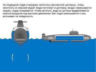 На подводной лодке открывают кингстоны балластной цистерны, чтобы заполнить и