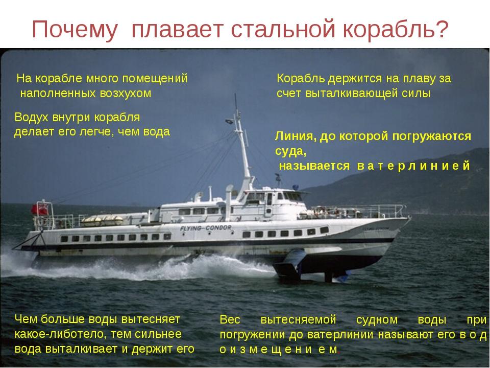 Почему плавает стальной корабль? На корабле много помещений наполненных возху...